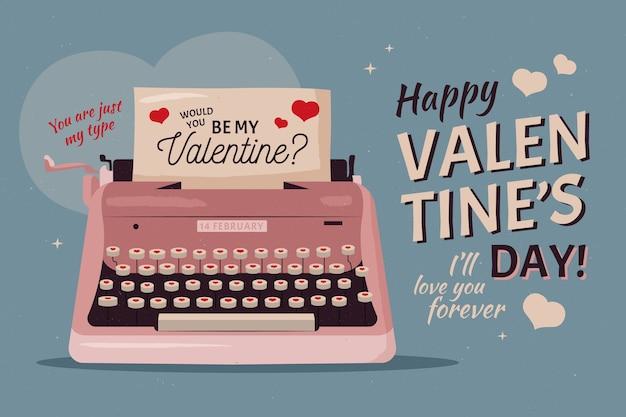 Vintage valentijnsdag achtergrond Gratis Vector