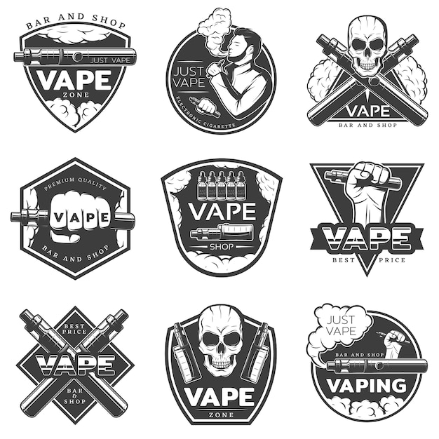 Vintage vape-logo ingesteld Gratis Vector