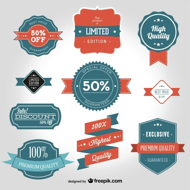 Vintage vector badge vormen Gratis Vector