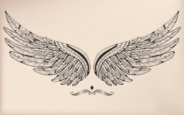 Vintage vector vleugel Gratis Vector
