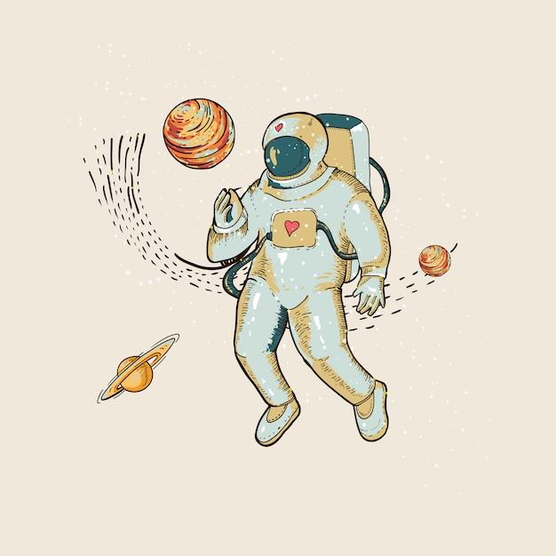 Vintage vectorastronaut in ruimte, planeet en sterren. science fiction, hand getrokken illustratie Premium Vector
