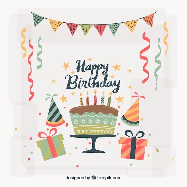 Vintage verjaardag decoratie achtergrond vector gratis for Decoratie verjaardag