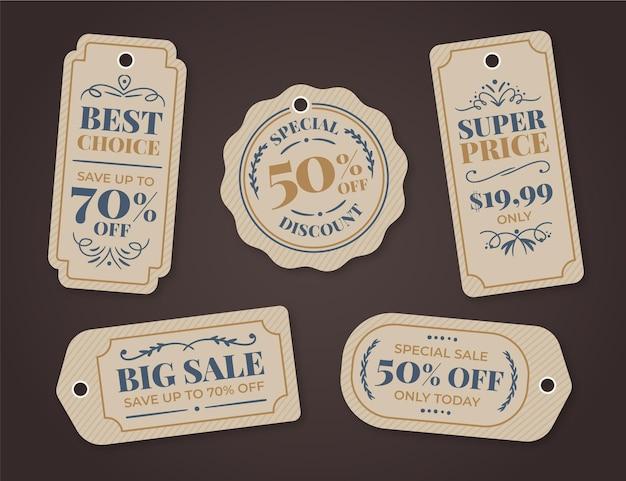 Vintage verkoop tags ingesteld Gratis Vector