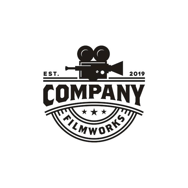 Vintage videocamera-logo voor de productie van bioscoopfilms Premium Vector