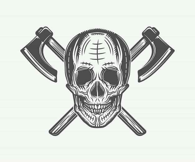 Vintage vikingen schedel tattoo Premium Vector