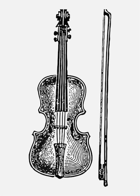 Vintage viool illustratie Gratis Vector