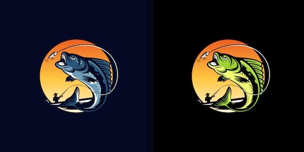 Vintage visserij logo ontwerp illustratie Premium Vector