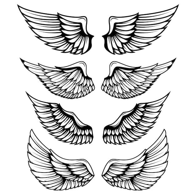 Vintage vleugels op witte achtergrond. elementen voor logo, label, embleem, teken, merkmarkering. Premium Vector