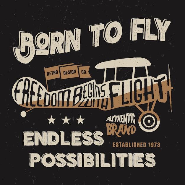 Vintage vliegtuigontwerp voor t-shirt, andere prints. typografie oude stijlafbeelding. Premium Vector
