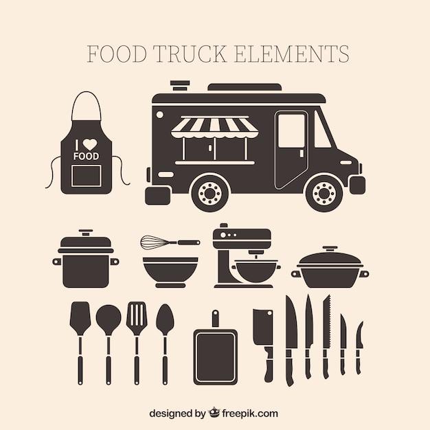 Vintage voedsel vrachtwagen elementen Gratis Vector