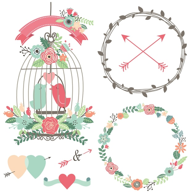 Vintage vogelkooi, bloemen en liefdesvogel Premium Vector