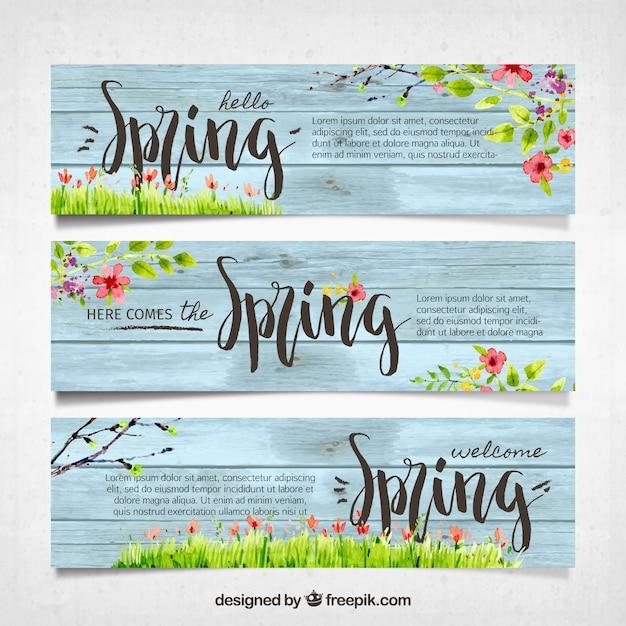 Vintage voorjaar banners Gratis Vector