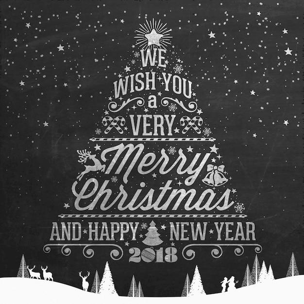 Vintage vrolijk kerstfeest en gelukkig Nieuwjaar kalligrafische en