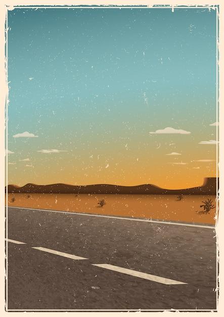Vintage weg poster sjabloon, achtergrond met asfaltweg, woestijn, bergen en zonsondergang. grunge textuur Gratis Vector