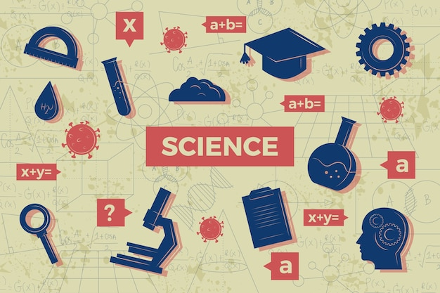 Vintage wetenschappelijk onderwijs achtergrondthema Gratis Vector