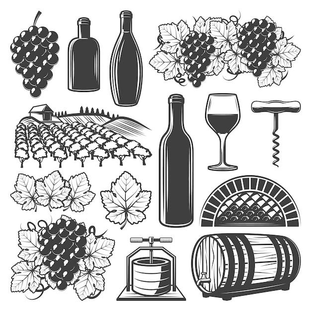 Vintage wijn elementen set met wijnglas houten vat flessen wijngaard druiventrossen kurkentrekker geïsoleerd Gratis Vector