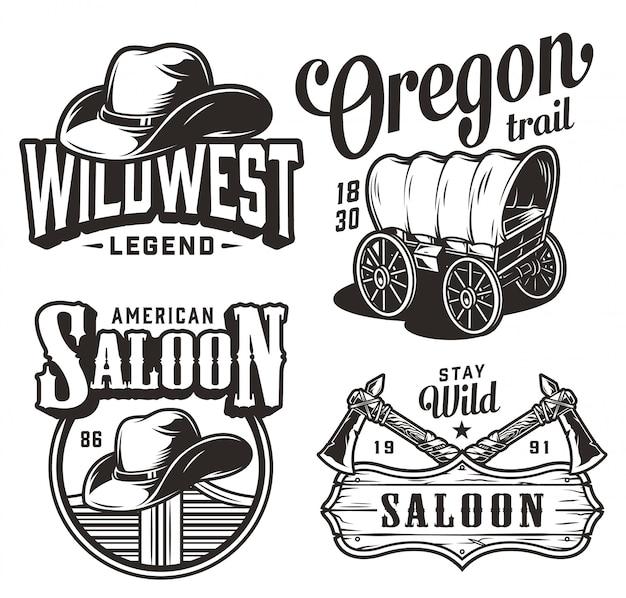 Vintage wild west emblemen set Gratis Vector