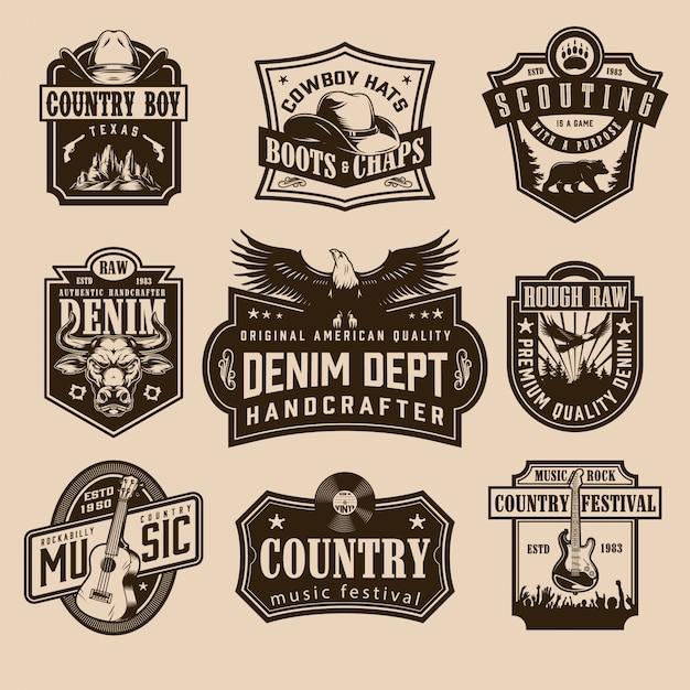 Vintage wilde westen labels Premium Vector