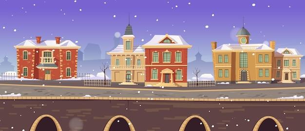Vintage winter stadsstraat met europese koloniale victoriaanse gebouwen en promenade langs het meer Gratis Vector