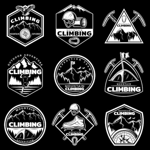 Vintage witte bergbeklimmen logo's set Gratis Vector