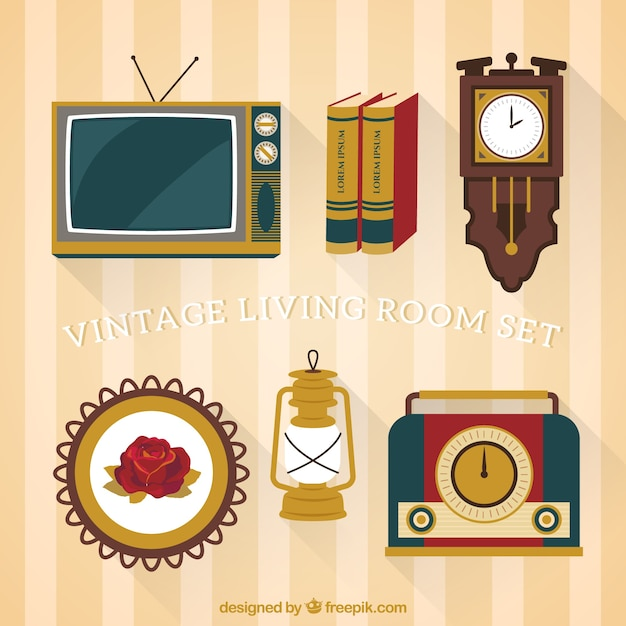Vintage Woonkamer Of Vintage Woonkamer Set Vector Gratis Download