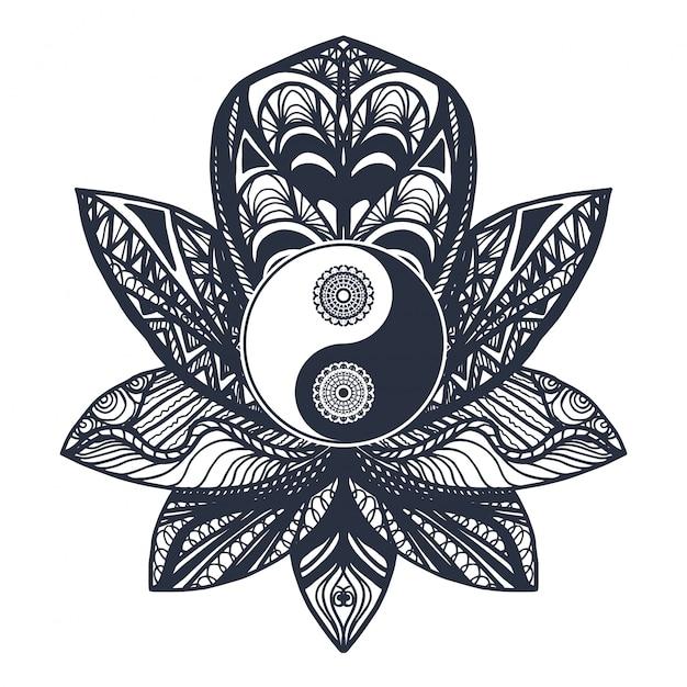 Vintage yin en yang in lotus Premium Vector