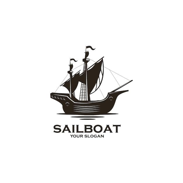 Vintage zeilboot silhouet logo Premium Vector