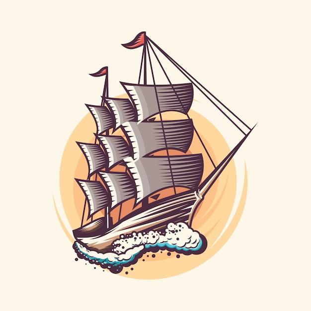 Vintage zeilen scheepsontwerp illustratie Premium Vector