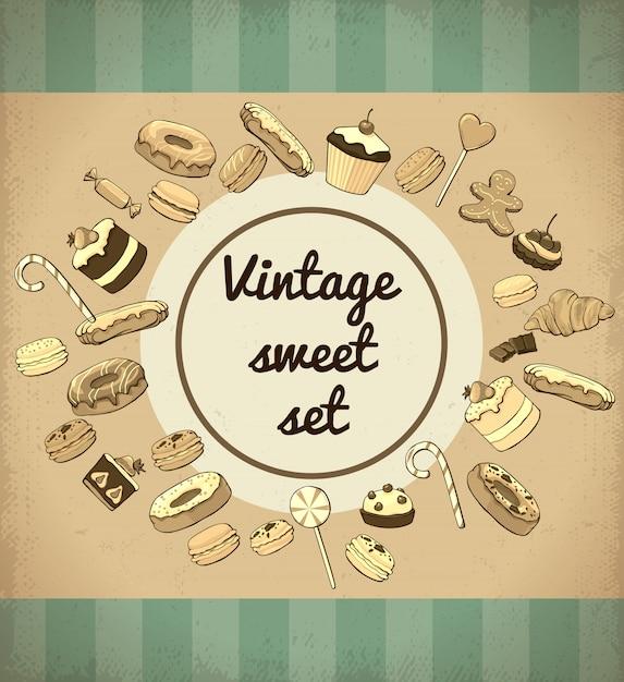 Vintage zoete producten en desserts sjabloon Gratis Vector