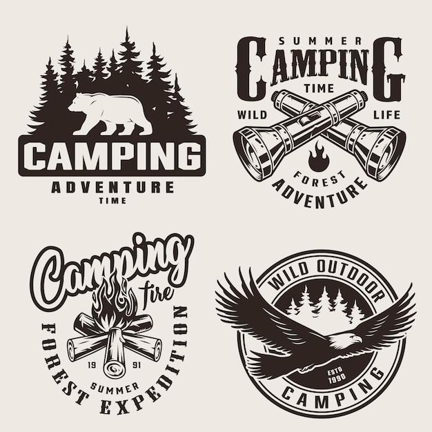 Vintage zomer camping labels Gratis Vector