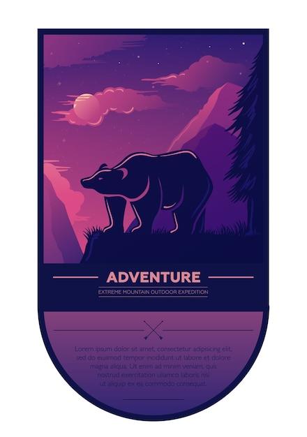 Vintage zomeravontuur buiten wandelen en kamperen retro label, badge, element met beer, prachtig landschap, zonsondergang, bergen Premium Vector