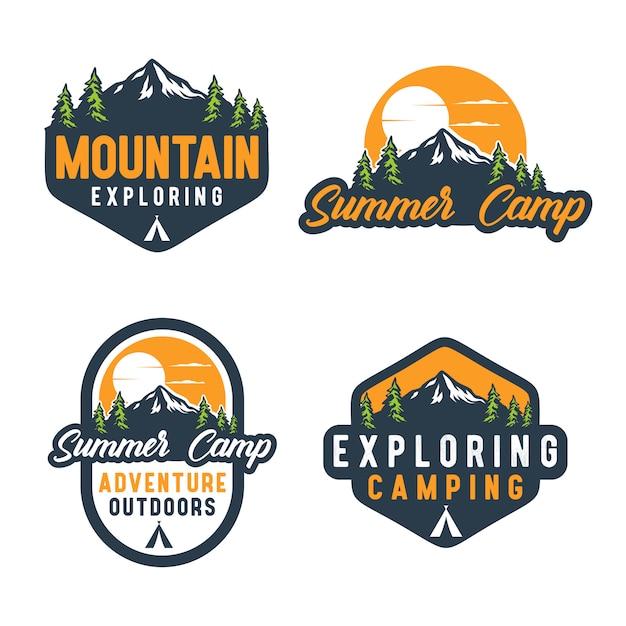 Vintage zomerkamp badge logo Premium Vector