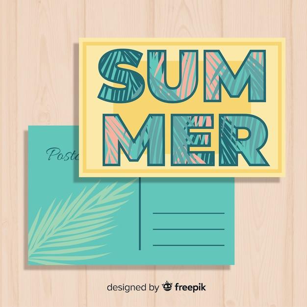 Vintage zomervakantie briefkaartsjabloon Gratis Vector