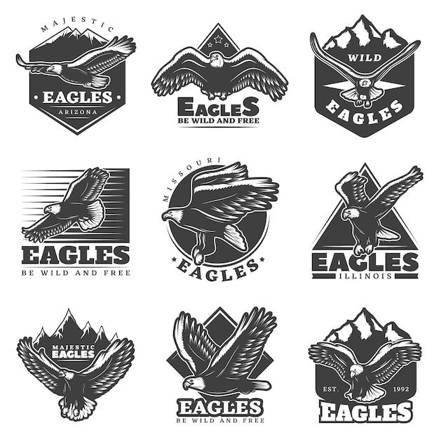 Vintage zwart-wit american eagles etiketten instellen Gratis Vector
