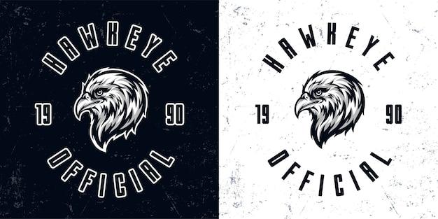 Vintage zwart-wit eagle hoofd mascotte logo illustratie Premium Vector