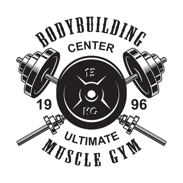 Vintage zwart-wit fitness-logo met gekruiste halters en gewicht Premium Vector