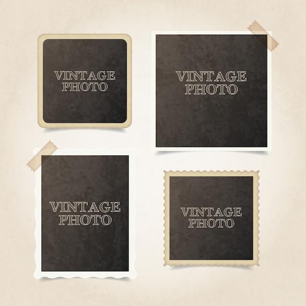 Vintga fotolijsten pakken Gratis Vector