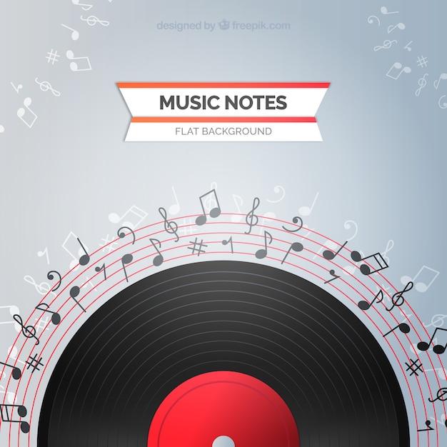 Vinyl achtergrond met muzieknoten Gratis Vector