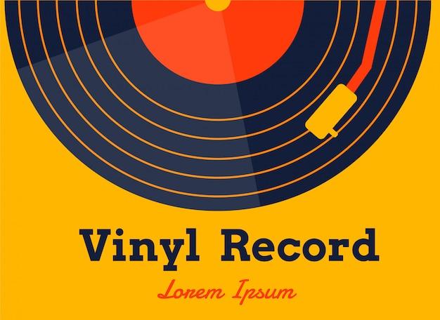 Vinyl muziekvector met gele afbeelding Premium Vector
