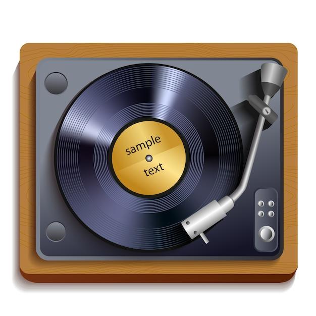 Vinyl platenspeler illustratie Premium Vector
