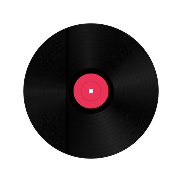Vinyl record schijf in papieren doos. Premium Vector