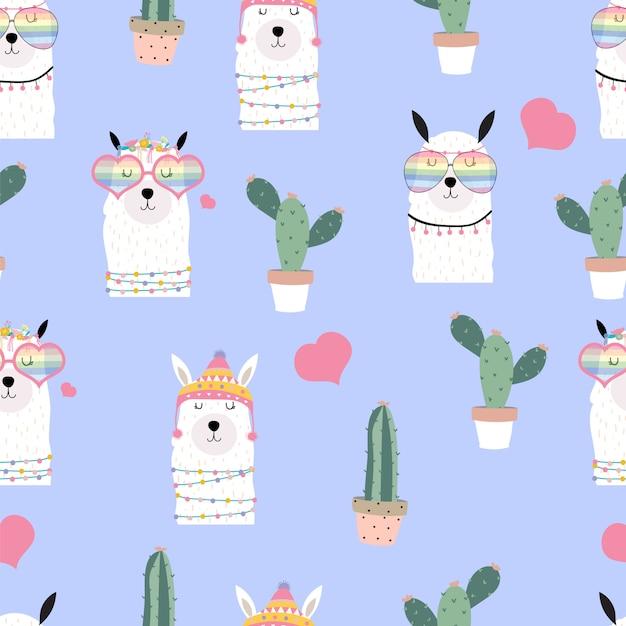 Violet hand getekend schattig naadloos patroon met lama, hartglazen, cactus in de zomer Premium Vector