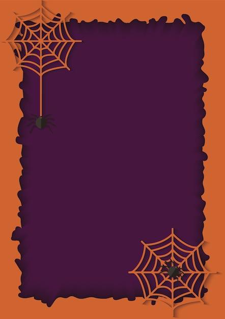 Violet papier gesneden achtergrond en oranje frame met een hangend web van gevaarlijke en giftige spin. enge papier achtergrond met spinnenweb voor uitnodiging voor halloween. papier illustratie Premium Vector