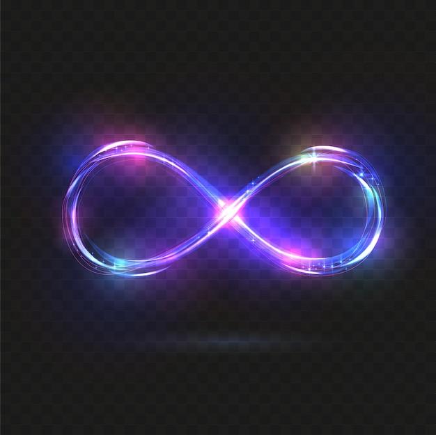 Violet schijnend oneindigheidssymbool. Premium Vector
