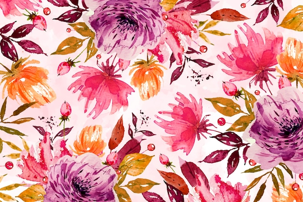 Violette bloemachtergrond met zachte waterverf Gratis Vector