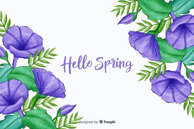 Violette bloemen met paars hallo lente citaat Gratis Vector