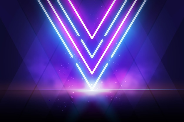 Violette en blauwe lichten met rookeffect achtergrond Gratis Vector