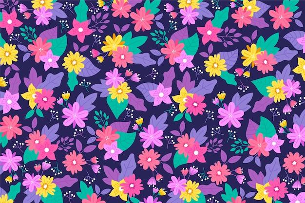 Violette tonen van ditsy bloemenachtergrond met gouden bloemen Gratis Vector