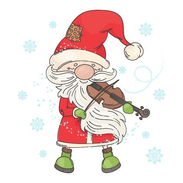 Violin santa kerstmuzikant Premium Vector