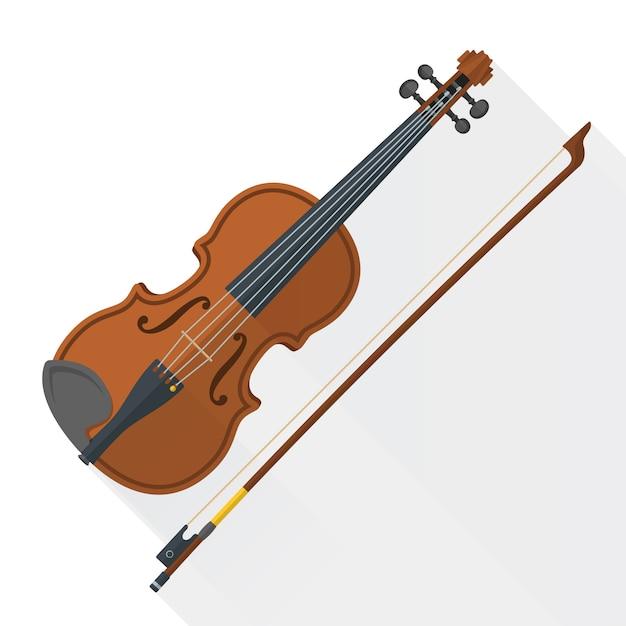 Viool viool strijkstok op wit Premium Vector